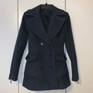 BCBG Grey Double Breasted Wool Blend Winter Coat